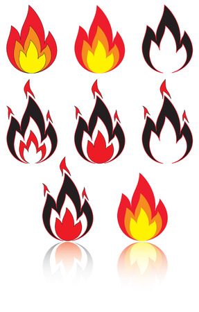 Set of a fire, illustration Stock Vector - 6722333