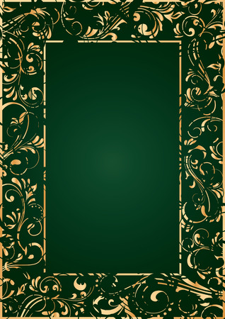 Decorative template gold grunge frame on green background, illustration Vector