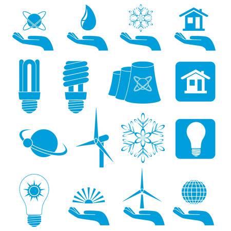 Set of blue icons, illustration Stock Vector - 6722320