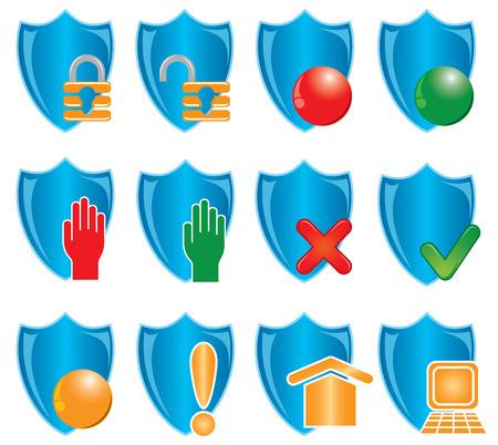 Blue shields on white, illustration Vector