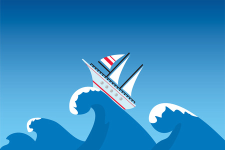 The ship on a surge, illustration Vector