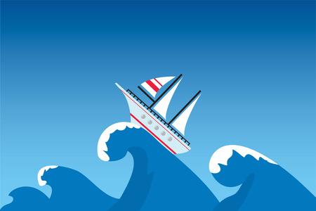The ship on a surge, illustration Vektorové ilustrace