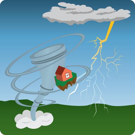 Tornado, lightning and house, illustration Vector