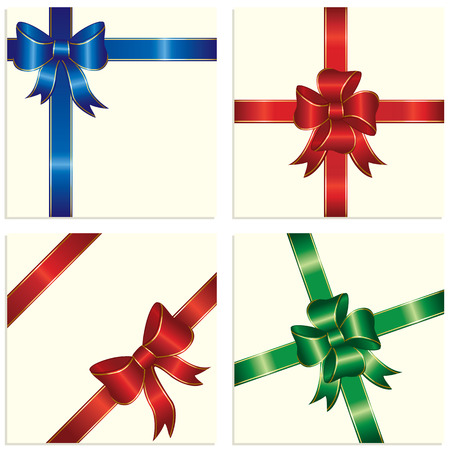 Bow and ribbon wrapping paper sheet, illustration Vector