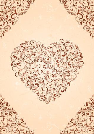 beige stof: Decoratieve sjabloon sierlijke elementen, afbeelding