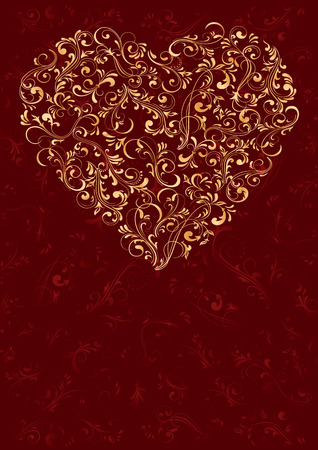 grunge heart: Decorative template from ornate elements, illustration