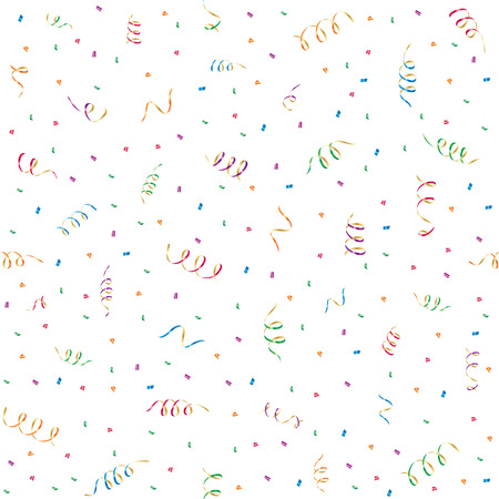 Seamless background with party streamers and confetti, illustration Vector