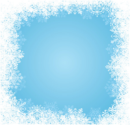snowflake border: Abstract winter blue background, with snowflakes, illustration