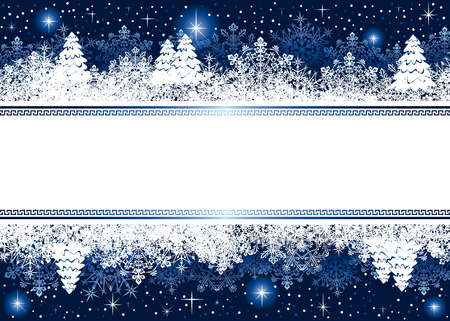 star border: Abstract winter background, with snowflakes, stars and Christmas tree, illustration