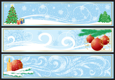 Three abstract Christmas banners, illustration Vector