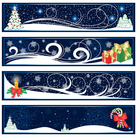 Abstract Christmas banners on blue background, illustration Vector