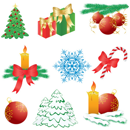 Nine abstract Christmas icons, illustration Stock Vector - 7436928