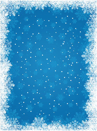 Abstract winter blue background, with snowflakes, illustration Vector