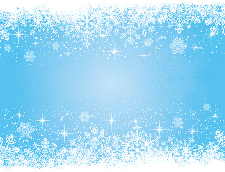 Abstract winter blue background, with snowflakes, illustration