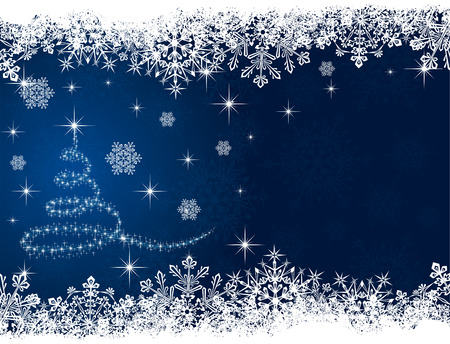 Abstract winter blue background, with snowflakes and Christmas tree, illustration Vector