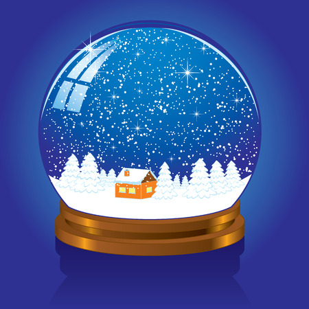 falling snow: Christmas Snow globe with the falling snow, illustration Illustration