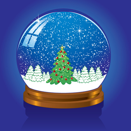 Weihnachten Schneekugel mit der fallenden Schnee, Abbildung  Vektorgrafik