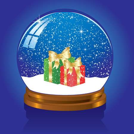 Christmas Snow globe with the falling snow, illustration Stock Vector - 7436916