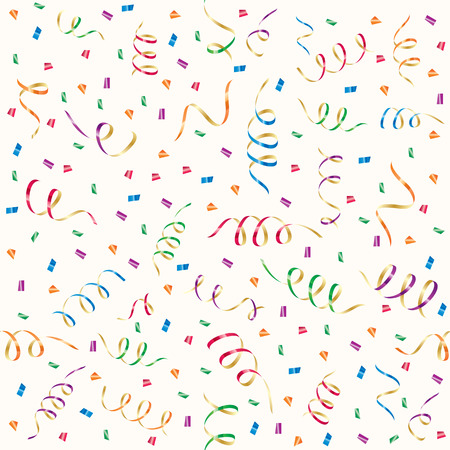 konfeti: Seamless background with party streamers and confetti, illustration