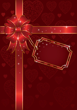st valentins day: Bow e avvolgimento del nastro di carta foglio, illustrazione