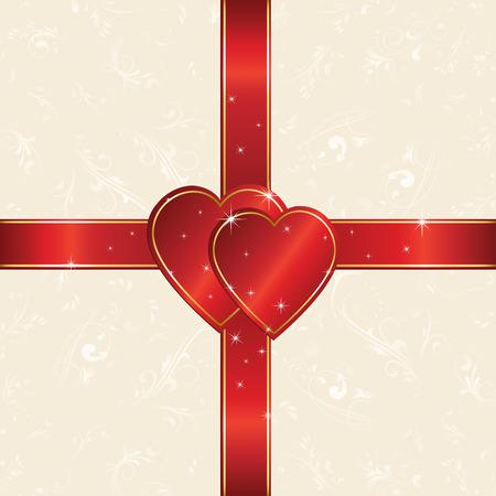 st valentins day: Cuore e confezionamento del nastro di carta foglio, illustrazione