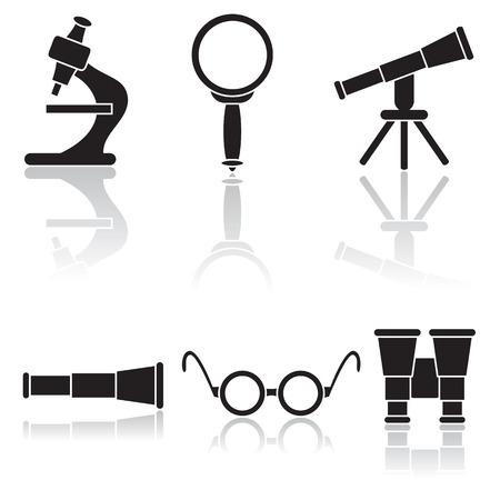 microscopio: Conjunto de iconos de medios �pticos, ilustraci�n