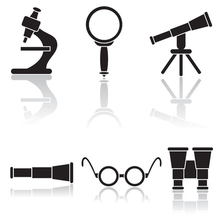 telescopes: Set of optical icons, illustration