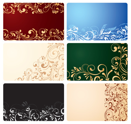 Set of business cards with ornate elements, illustration Vector