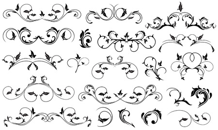 gothic design: Set of Black floral elements for decor, Illustration