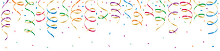 Background with party streamers and confetti, illustration Stock Vector - 7478766