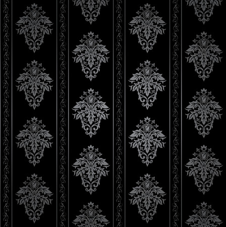 gothic design: Seamless Gothic ornamental wallpaper, floral pattern, illustration Illustration