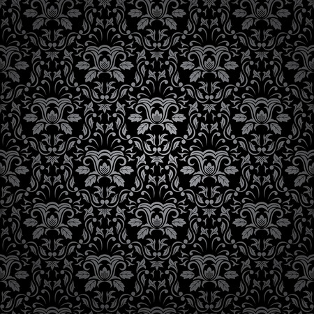 Seamless Gothic ornamental wallpaper, floral pattern, illustration Vector