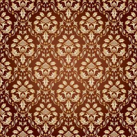 rococo style: Seamless ornamental wallpaper, floral pattern, illustration