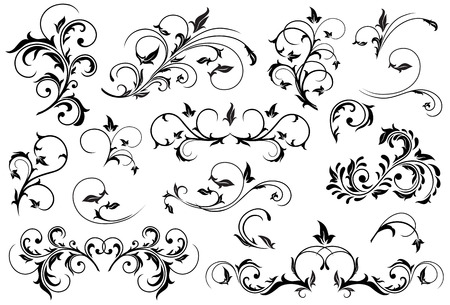 tracery: Set of Black floral elements for decor, Illustration