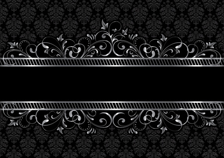 black and silver: Background with decorative frame, illustration Illustration