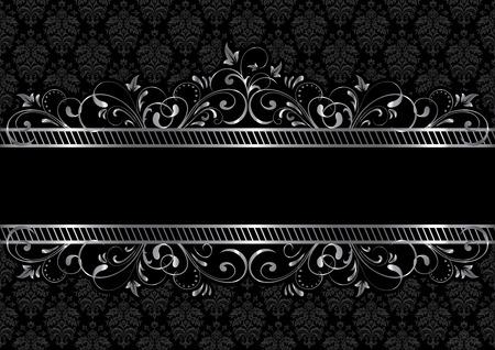 seamless damask: Fondo con marco decorativo, ilustraci�n
