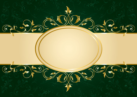 Background with decorative golden template, illustration Stock Vector - 7824978