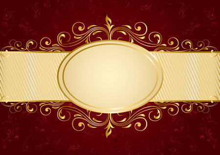 Background with decorative golden template, illustration Vector