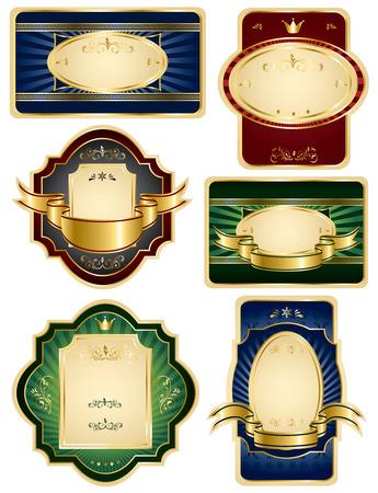 Set of Gold  labels, illustration Vector