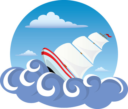 Illustration of a Ship on the water Vector