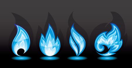 quemadura: Conjunto de iconos de un incendio, ilustraci�n  Vectores