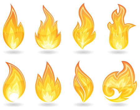burn: Set of a fire icons, illustration