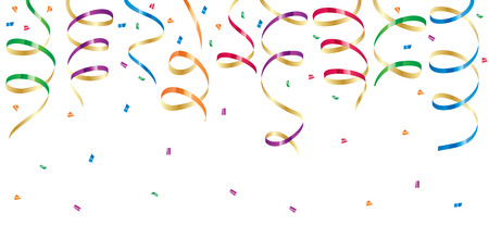 trumpery: Background with party streamers and confetti, illustration Illustration