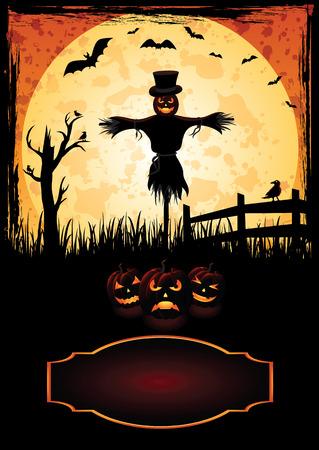 dark brown background: Halloween background with Jack O Lantern, illustration