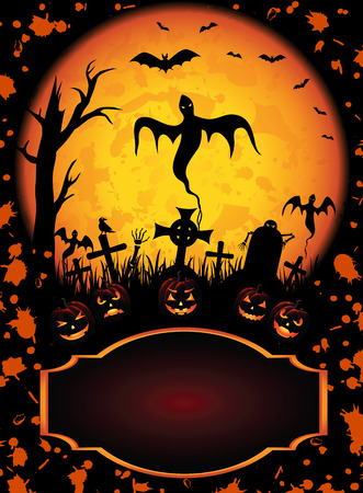 all saints day: Halloween background with Jack O Lantern and ghost, illustration