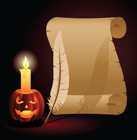 all saints day: Halloween background with Jack O Lantern, old paper and feather, illustration