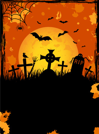 tombstone: Grunge Halloween night background, illustration