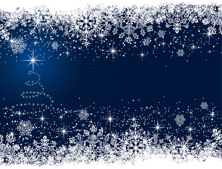 christmas border: Abstract winter blue background, with stars, snowflakes and Christmas tree, illustration Illustration