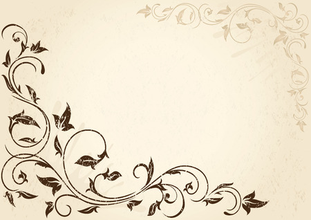 Decorative grunge background with floral elements, illustration