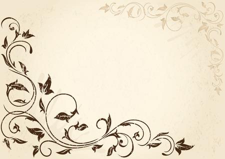 vine  plant: Decorative grunge background with floral elements, illustration